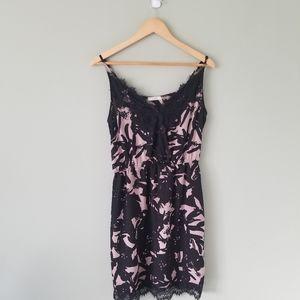 Dex black and cream lace midi dress in size medium